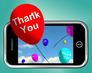Thank You Balloons Message As Thanks Sent On A Mobile