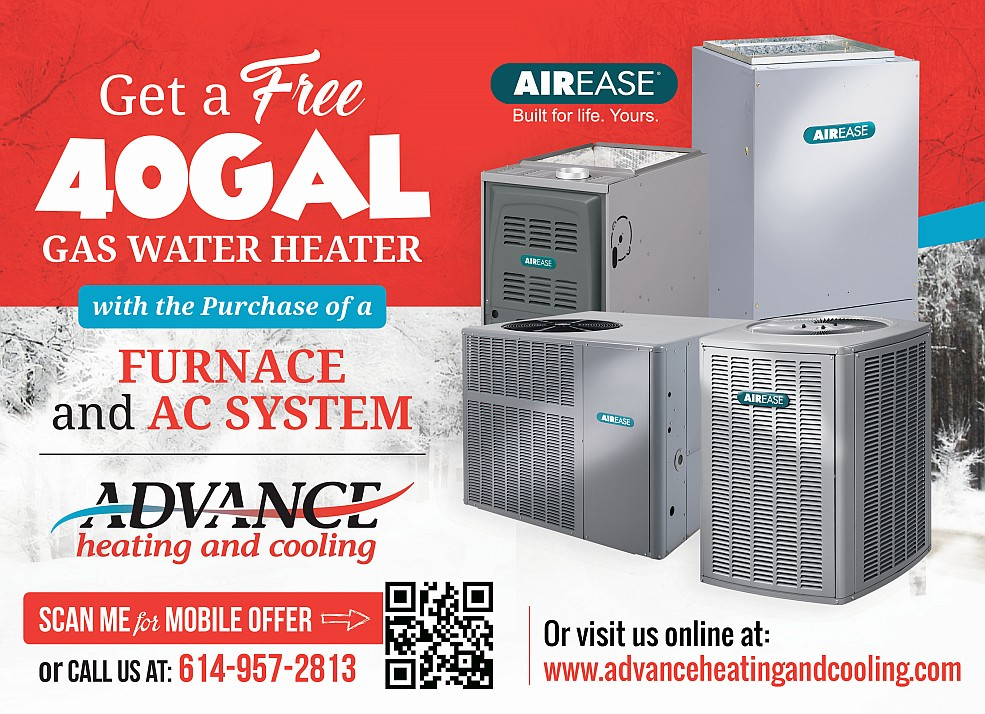 hvac, advance heating and cooling, free water heater deal, FREE 40 Gallon Hot Water heater installed with Purchase of Furnace & AC System